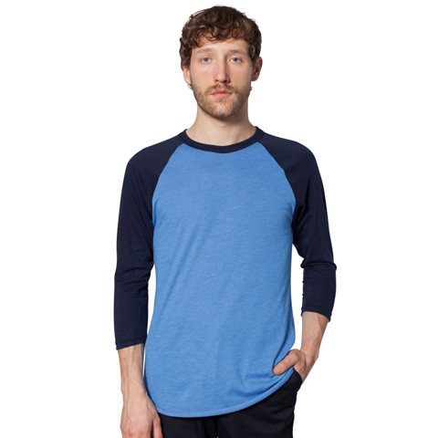 American Apparel Unisex Poly/Cotton 3/4 Sleeve Raglan Shirt