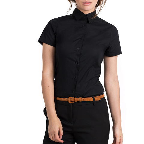 B&C Ladies Black Tie Short Sleeve Shirt