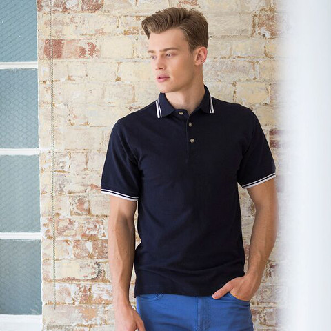 Henbury Contrast Double Tipped Pique Polo Shirt