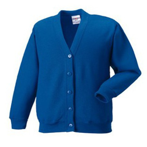 Jerzees kids cardigan in Bright Red 5-6