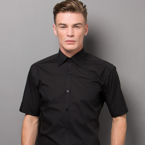 Kustom Kit Mens Slim Fit Short Sleeve Business Shirt