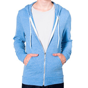 American Apparel Unisex Tri-blend Terry Zip Hoodie