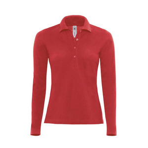B&C Ladies Safran Pure Long Sleeve Pique Polo Shirt