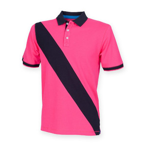 Front Row Diagonal Stripe Tagless House Cotton Polo Shirt