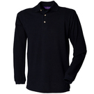 Henbury Long Sleeve Classic Cotton Pique Polo Shirt