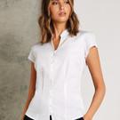 Kustom Kit Ladies Continental Mandarin Collar Cap Sleeve Blouse