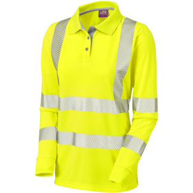 Leo Workwear Pollyfield ISO 20471 Class 2 Coolviz Ultra Women's Sleeved Polo Shirt