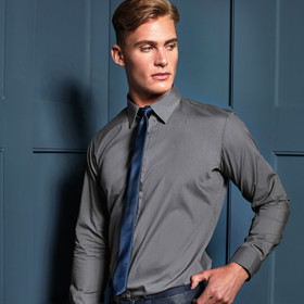 Premier 'Colours' Poplin Fitted Long Sleeve Shirt