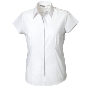 Russell Collection Ladies Cap Sleeve Polycotton Easy Care Fitted Poplin Shirt