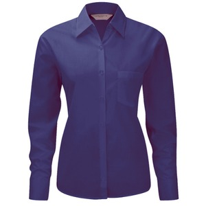 Russell Collection Ladies Long Sleeve Easy Care Poplin Shirt Poly Cotton
