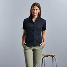 Russell Collection Ladies Short Sleeve Easy Care Cotton Poplin Blouse