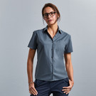 Russell Collection Ladies Short Sleeve Easy Care Poplin Blouse Poly Cotton