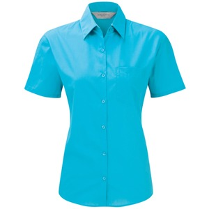 Russell Collection Ladies Short Sleeve Easy Care Poplin Shirt Poly Cotton